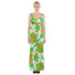 Graphic Floral Seamless Pattern Mosaic Maxi Thigh Split Dress