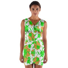 Graphic Floral Seamless Pattern Mosaic Wrap Front Bodycon Dress
