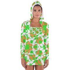 Graphic Floral Seamless Pattern Mosaic Women s Long Sleeve Hooded T-shirt