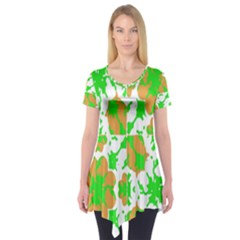 Graphic Floral Seamless Pattern Mosaic Short Sleeve Tunic