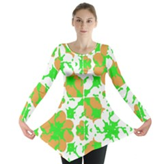 Graphic Floral Seamless Pattern Mosaic Long Sleeve Tunic