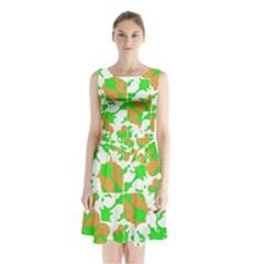 Graphic Floral Seamless Pattern Mosaic Sleeveless Chiffon Waist Tie Dress