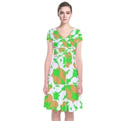 Graphic Floral Seamless Pattern Mosaic Short Sleeve Front Wrap Dress