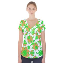Graphic Floral Seamless Pattern Mosaic Short Sleeve Front Detail Top