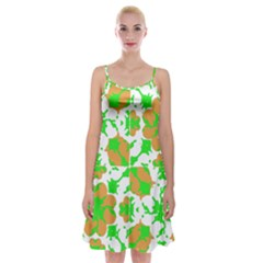 Graphic Floral Seamless Pattern Mosaic Spaghetti Strap Velvet Dress