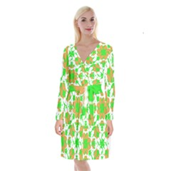 Graphic Floral Seamless Pattern Mosaic Long Sleeve Velvet Front Wrap Dress