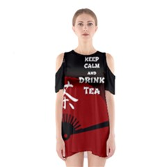Keep Calm And Drink Tea   Dark Asia Edition Cutout Shoulder Dress