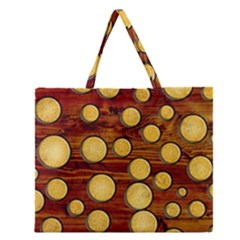 Wood And Gold Zipper Large Tote Bag