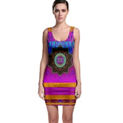 Air And Stars Global With Some Guitars Pop Art Sleeveless Bodycon Dress