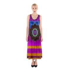 Air And Stars Global With Some Guitars Pop Art Sleeveless Maxi Dress