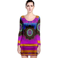 Air And Stars Global With Some Guitars Pop Art Long Sleeve Bodycon Dress