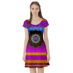 Air And Stars Global With Some Guitars Pop Art Short Sleeve Skater Dress
