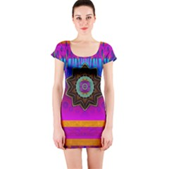 Air And Stars Global With Some Guitars Pop Art Short Sleeve Bodycon Dress