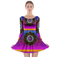 Air And Stars Global With Some Guitars Pop Art Long Sleeve Skater Dress