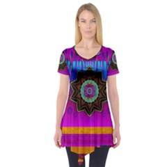 Air And Stars Global With Some Guitars Pop Art Short Sleeve Tunic