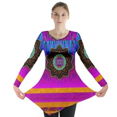 Air And Stars Global With Some Guitars Pop Art Long Sleeve Tunic