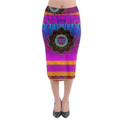 Air And Stars Global With Some Guitars Pop Art Midi Pencil Skirt