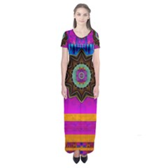 Air And Stars Global With Some Guitars Pop Art Short Sleeve Maxi Dress
