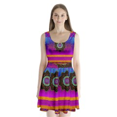 Air And Stars Global With Some Guitars Pop Art Split Back Mini Dress