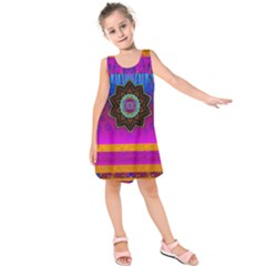 Air And Stars Global With Some Guitars Pop Art Kids  Sleeveless Dress