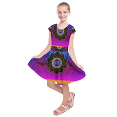 Air And Stars Global With Some Guitars Pop Art Kids  Short Sleeve Dress
