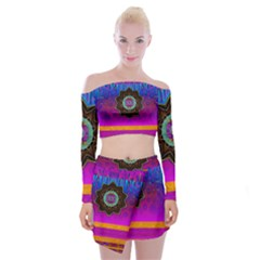Air And Stars Global With Some Guitars Pop Art Off Shoulder Top with Skirt Set