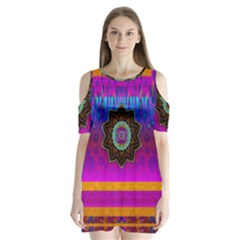 Air And Stars Global With Some Guitars Pop Art Shoulder Cutout Velvet  One Piece