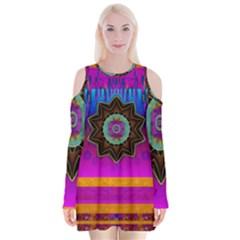 Air And Stars Global With Some Guitars Pop Art Velvet Long Sleeve Shoulder Cutout Dress