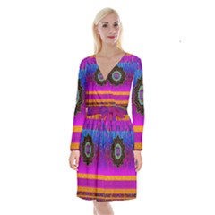 Air And Stars Global With Some Guitars Pop Art Long Sleeve Velvet Front Wrap Dress