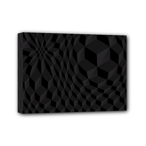 Black Pattern Dark Texture Background Mini Canvas 7  x 5