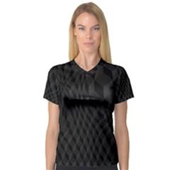 Black Pattern Dark Texture Background Women s V Neck Sport Mesh Tee