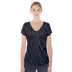Black Pattern Dark Texture Background Short Sleeve Front Detail Top
