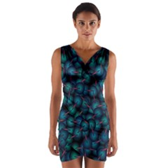 Background Abstract Textile Design Wrap Front Bodycon Dress
