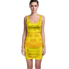 Texture Yellow Abstract Background Sleeveless Bodycon Dress