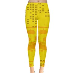 Texture Yellow Abstract Background Leggings