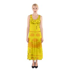 Texture Yellow Abstract Background Sleeveless Maxi Dress