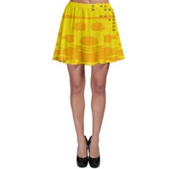Texture Yellow Abstract Background Skater Skirt