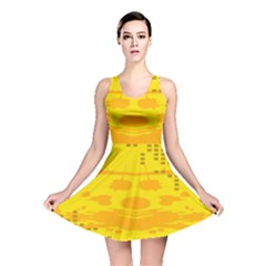 Texture Yellow Abstract Background Reversible Skater Dress