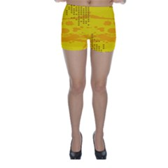 Texture Yellow Abstract Background Skinny Shorts