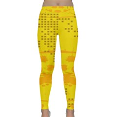 Texture Yellow Abstract Background Classic Yoga Leggings