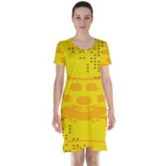 Texture Yellow Abstract Background Short Sleeve Nightdress