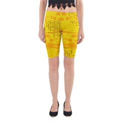 Texture Yellow Abstract Background Yoga Cropped Leggings