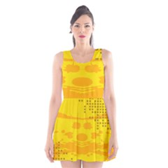 Texture Yellow Abstract Background Scoop Neck Skater Dress