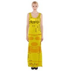 Texture Yellow Abstract Background Maxi Thigh Split Dress