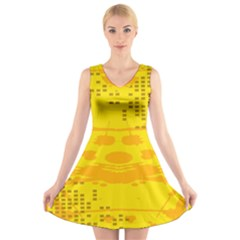 Texture Yellow Abstract Background V Neck Sleeveless Skater Dress