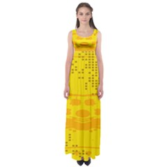 Texture Yellow Abstract Background Empire Waist Maxi Dress
