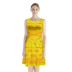 Texture Yellow Abstract Background Sleeveless Chiffon Waist Tie Dress