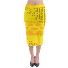 Texture Yellow Abstract Background Midi Pencil Skirt