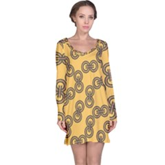 Abstract Shapes Links Design Long Sleeve Nightdress