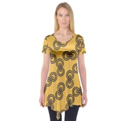 Abstract Shapes Links Design Short Sleeve Tunic